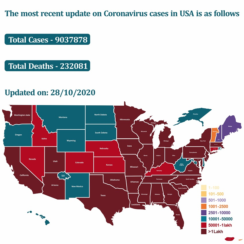 The most recent update on coronavirus cases in USA   HealthSoul